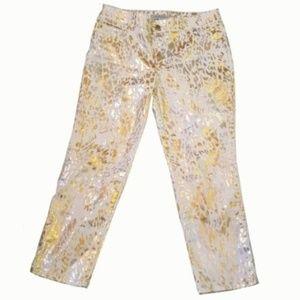 Chicos Platinum Metallic White Gold Jeans Animal
